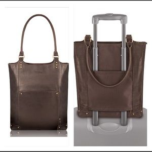 Solo Brown Leather Padded Laptop Travel Bag